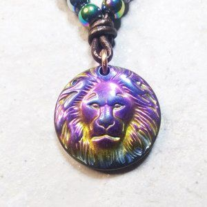 """Calling all Girl Leos + Lionesses! Beaded Leather Tong w. Leo Medallion 20"""""""